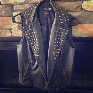 Forever 21 Sleeveless Studded Motorcycle Jacket